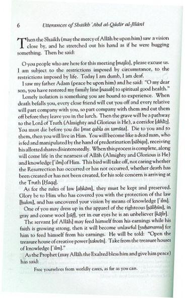 Utterances of Shaikh 'Abd al-Qadir (Malfuzat)